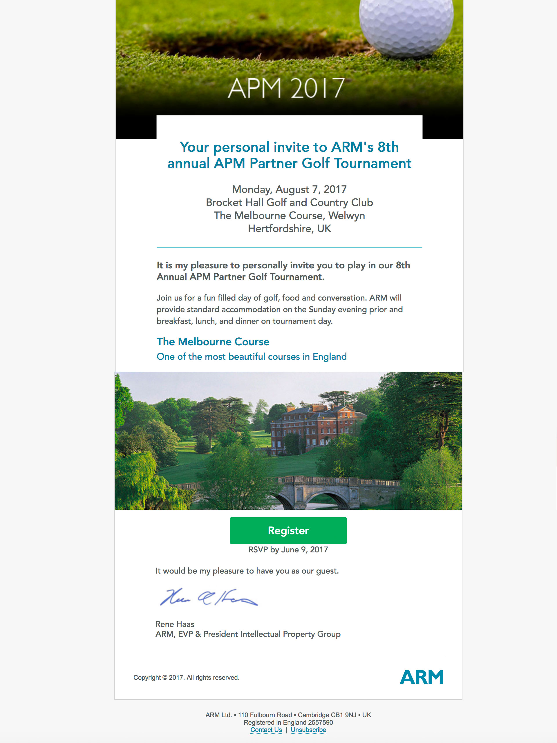 apm golf invite email